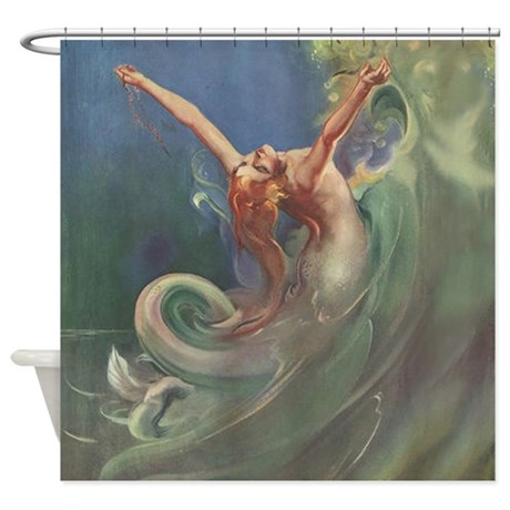 Gifts 1930s bathroom d cor vintage mermaid art shower for Mermaid bathroom decor vintage
