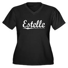 Estelle, Vintage Women's Plus Size V-Neck Dark T-S