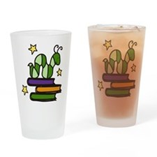 Books And Worm Drinking Glass