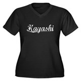 Hayashi, Vintage Women's Plus Size V-Neck Dark T-S
