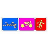 Triathlon Color Figures Bumper Bumper Sticker