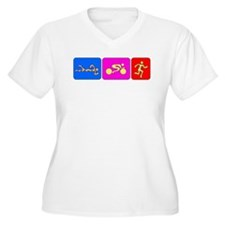 Triathlon Color Figures Bumper T-Shirt