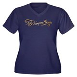 My Vampire Awaits Gold Women's Plus Size V-Neck Da