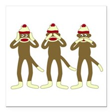 "No Evil Sock Monkeys Square Car Magnet 3"" x 3"""