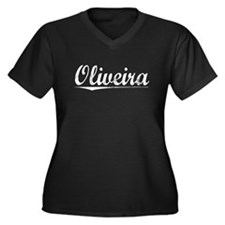 Oliveira, Vintage Women's Plus Size V-Neck Dark T-