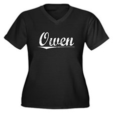 Owen, Vintage Women's Plus Size V-Neck Dark T-Shir