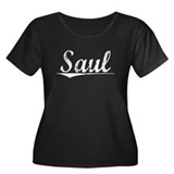 Saul, Vintage Women's Plus Size Scoop Neck Dark T-