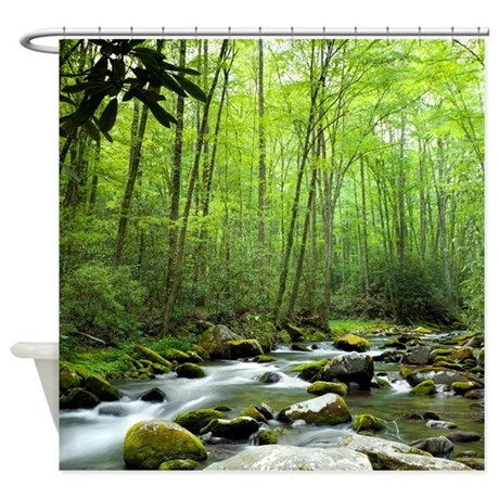 gifts brooks bathroom d cor spring forest stream shower curtain