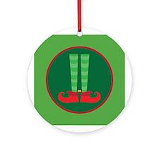 Christmas Elf Feet Ornament (Round)