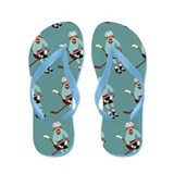 Sock Monkey Ice Hockey Player Flip Flops