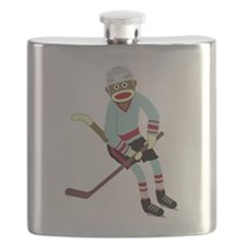 Sock Monkey Ice Hockey Player Flask