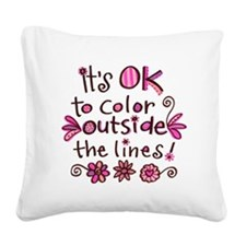 color outside the lines.png Square Canvas Pillow