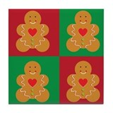 Gingerbread Man Christmas Tile Coaster