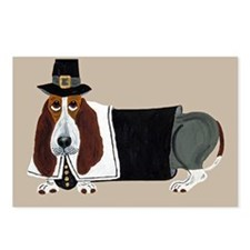 Basset Hound Thanksgiving Pilgrim Postcards (Packa