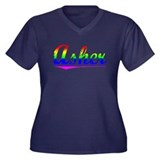 Asher, Rainbow, Women's Plus Size V-Neck Dark T-Sh