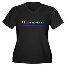 Asuncion, Rainbow, Women's Plus Size V-Neck Dark T