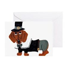 Dachshund Thanksgiving Pilgrim Greeting Cards (Pk