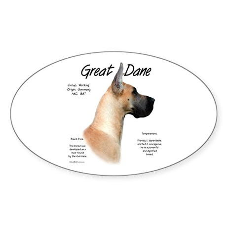 Fawn Great Dane Oval Sticker