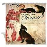 Vintage French Cat Dog Shower Curtain