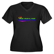Branson, Rainbow, Women's Plus Size V-Neck Dark T-