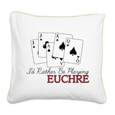 Euchre Playing Square Canvas Pillow