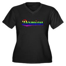 Damian, Rainbow, Women's Plus Size V-Neck Dark T-S