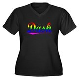 Dash, Rainbow, Women's Plus Size V-Neck Dark T-Shi