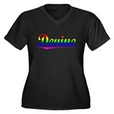 Devine, Rainbow, Women's Plus Size V-Neck Dark T-S
