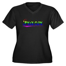 Frazer, Rainbow, Women's Plus Size V-Neck Dark T-S