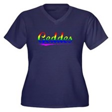 Geddes, Rainbow, Women's Plus Size V-Neck Dark T-S