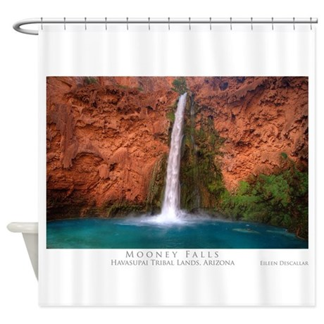 MooneywBlue14x10.jpg Shower Curtain