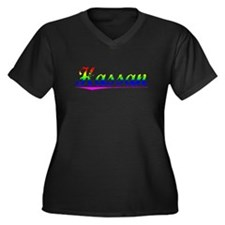 Hassan, Rainbow, Women's Plus Size V-Neck Dark T-S