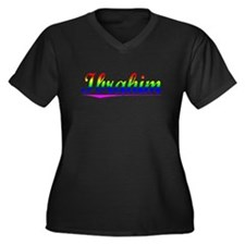 Ibrahim, Rainbow, Women's Plus Size V-Neck Dark T-