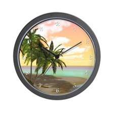 Dreamy Desert Island Wall Clock
