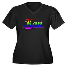 Kan, Rainbow, Women's Plus Size V-Neck Dark T-Shir