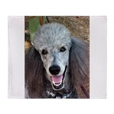 Smiling SIlver Poodle Throw Blanket