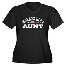 World's Best Aunt Women's Plus Size V-Neck Dark T-