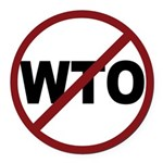 3-No WTO.png Round Car Magnet