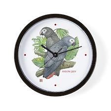 Tropical African Greys Wall Clock
