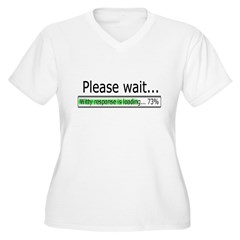 Please Wait Women's Plus Size V-Neck T-Shirt