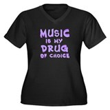 Music Is My Drug (pr) Women's Plus Size V-Neck Dar