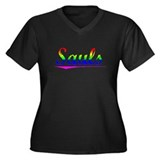 Sauls, Rainbow, Women's Plus Size V-Neck Dark T-Sh
