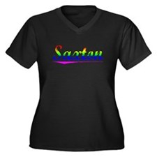 Saxton, Rainbow, Women's Plus Size V-Neck Dark T-S