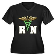 RN / Nurse Women's Plus Size V-Neck Dark T-Shirt