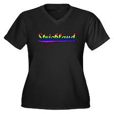 Strickland, Rainbow, Women's Plus Size V-Neck Dark