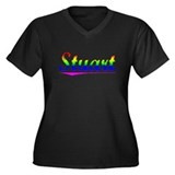 Stuart, Rainbow, Women's Plus Size V-Neck Dark T-S