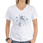 Masonic Fantasy Blue Women's V-Neck T-Shirt