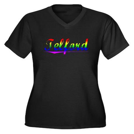 Telford, Rainbow, Women's Plus Size V-Neck Dark T-