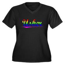 Usher, Rainbow, Women's Plus Size V-Neck Dark T-Sh