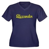 Alexander, Yellow Women's Plus Size V-Neck Dark T-